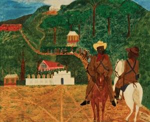 Philomé Obin (Haitian/Cap-Haïtien, 1892-1986) Debacle des Cacos le 1/6/1915 (A Disaster for the Caco Guerillas on 19 June, 1915), c. 1947, sold for $32,500