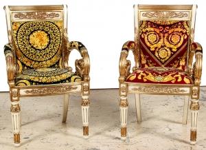 Lot 271. Pair Versace Louis XVI Style Bergeres