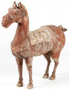 Lot 263. Horse Figure, Western Han Dynasty (206 BCE-9 CE), Est. $5000-$10,000