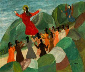 "Lot 221. Denis Vergin (Haitian, 20th c.) ""Ascension"", 1948, Oil Painting on Cardboard"