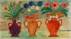 Lot 222. Peterson Laurent (Haitian/St. Marc, 1888-1958) Three Vases (Trois Vases), Oil Painting on Cardboard